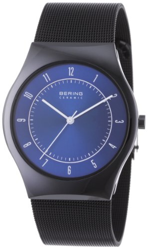 BERING Time 32039-440 Men's Ceramic Collection Watch with Mesh Band and scratch resistant sapphire crystal. Designed in Denmark.