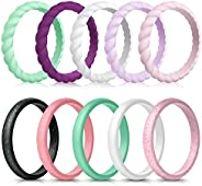 Forthee 10 Pack Silicone Wedding Ring for Women, Thin and Braided Rubber Band, Fashion, Colorful, Comfortable