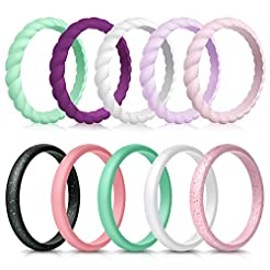 Forthee 10 Pack Silicone Wedding Ring fo...
