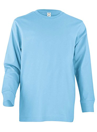 LAT Apparel Youth 100% Cotton Fine Jersey Long Sleeve Tee [Large] Light Blue T-Shirt