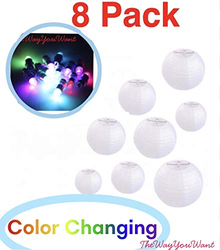 Paper Lanterns 12 Inch White Round 8 Pack with Multi Color Changing Party Lights | for Weddings, Parties & Celebration by TheWayYouWant