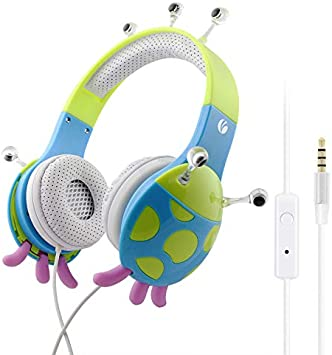 VCOM Auriculares para niños con micrófono, Chirdren Friendly Chicos niñas música Auriculares de Cabeza con limitación del Volumen, Compatible para iPad iPhone Smartphones PC Tablet Kindle(Azul Verde): Amazon.es: Electrónica