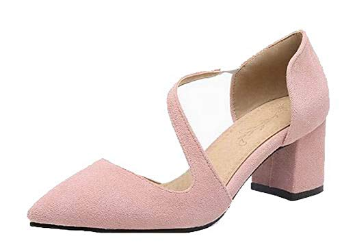 VogueZone009 Women Closed-Toe Pull-On Frosted Kitten-Heels Sandals,CCALP015615 Pink