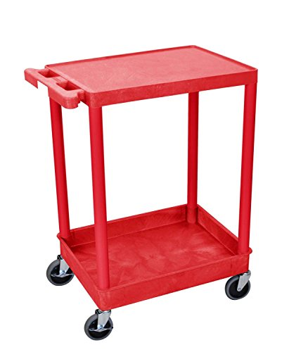 Luxor RDSTC21RD Multipurpose Flat Top and Tub Bottom Shelf Cart - Red ()
