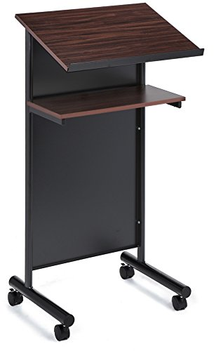 Wheeled Lectern with Storage Shelf - Cherry/Black - Compact Standing Desk for Reading - LapTop Stand