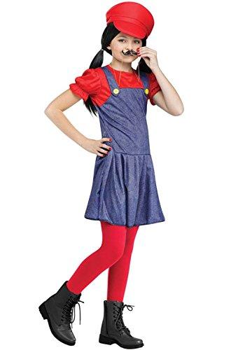 [Mememall Fashion Mario Girl Pretty Plumber Child Costume (Red)] (Red Coat Army Costume)