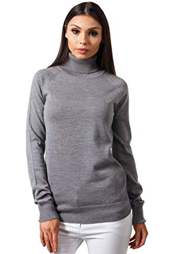KNITTONS Women Italian Merino Wool Turtleneck Sweater Long Sleeve Pullover (Small, Grey Melange)