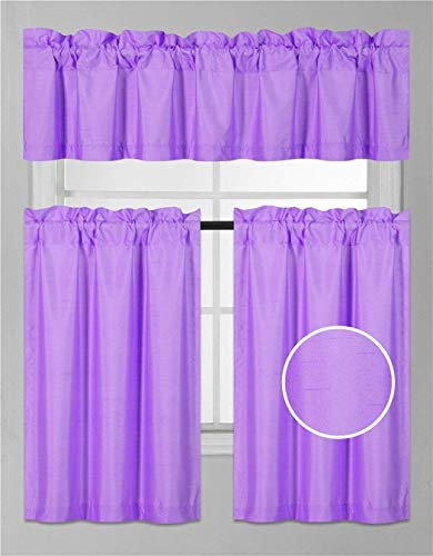 Fancy Collection 3 Pieces Faux Silk Blackout Kitchen Curtain Set Tier Curtains and Valance Set Solid Lilac Window Set Thermal Backing Drapes Assorted Colors New