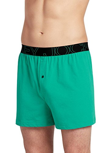 Jockey Men's Underwear ActiveBlend Knit Boxer, Green Seville, XL