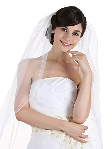 - 1T 1 Tier Pencil Edge Bridal Wedding Veil - White Cathedral Length 108