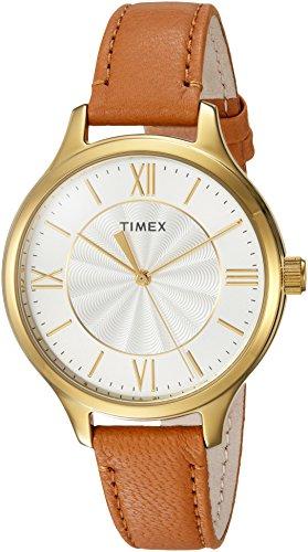 Timex Women's TW2R27900 Peyton Brown/Gold-Tone Leather Strap Watch ()