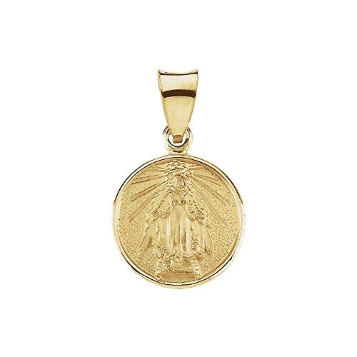 Bonyak Jewelry 18k Yellow Gold 13mm Miraculous Medal