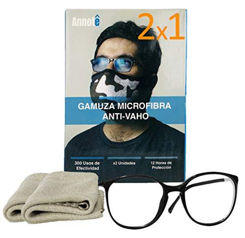 🥇 2 x 1 GAMUZA MICROFIBRA ANTI-VAHO GAFAS x 2 UNIDADES – Premium Gamuza Anti Vaho Cristales Gafas – Toallitas Gafas Antivaho – Antiempañante Gafas 300 Usos + 12 HORAS DE PROTECCIÓN
