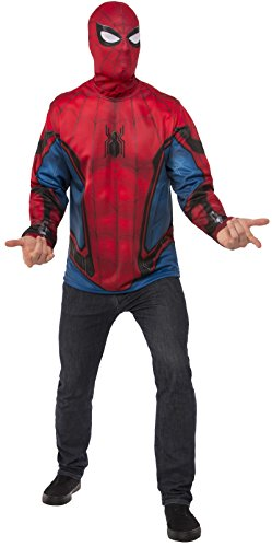 Mens Spiderman Costumes Mask (Rubie's Men's Spider-Man Adult Costume Top, Spider-Man: Homecoming, Standard)