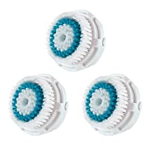 LSQtronics Deep Pore Facial Cleansing Brush Heads for Clarisonic. Face Cleansing Brush Heads for Daily Skin Care. Compatible with Clarisonic MIA, MIA 2, ARIA, PRO and PLUS Cleansing Systems. (3-Pack Brush Head for Deep Pore Facial Cleaning)