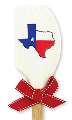 Brownlow Gifts Silicone Spatula with Wooden Handle, Texas Flag