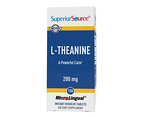 Superior Source L Theanine 200mg Sublingual Instant Dissolve Tablets - Calm Anxiety Stress Relief Supplement - Natural Zen Under The Tongue 100 Count