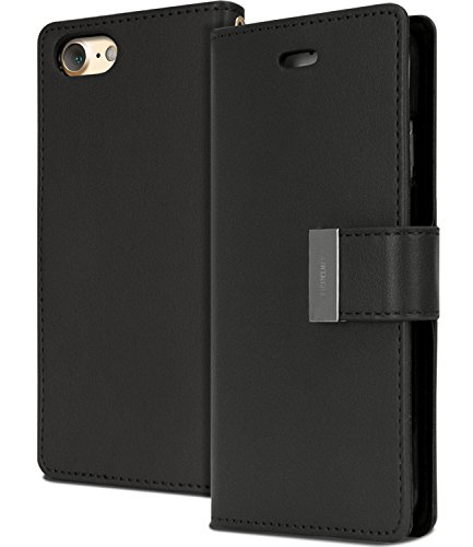iPhone 8 / 7 Wallet Case, [Maximized Storages for Credit & ID Cards] MERCURY Rich Diary [Drop Protection] Soft Premium PU Luxury Leather Case w/ TPU Casing Cover for Apple iPhone 8 / iPhone 7, Black