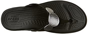 Crocs Women's Sanrah Embellished Flip Wedge Sandal, Blacksilver Metallic, 9 M Us 7