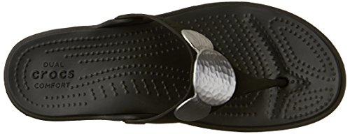 Nero Sanrah Argento Abbellito Crocs Zeppa Vibrazione Donne Metallico wX1prXSq