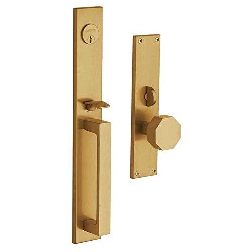 Baldwin 6570.ENTR Atlanta Single Cylinder Mortise Handleset Trim Set, Lacquered Vintage (Lacquered Vintage Brass Door)