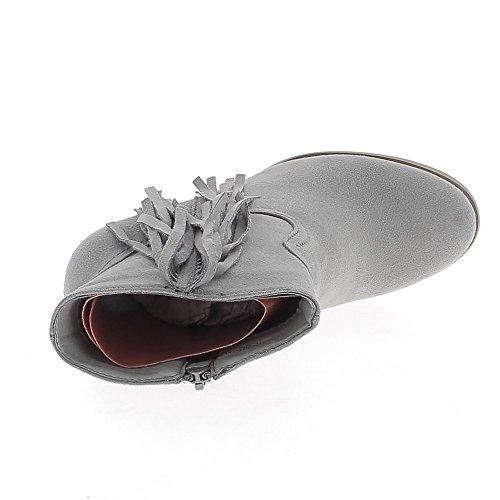 Bottines grises à franges talon épais de 7cm look daim doublées
