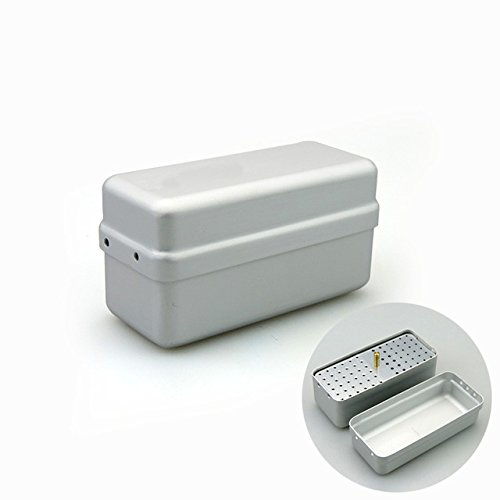 72 Holes Dentist Aluminum FG Burs Holder Block Stand Autoclave Disinfection Box (Silver)