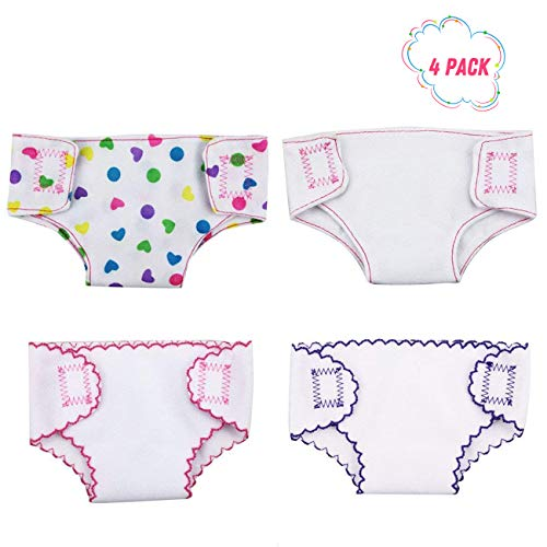 - DC-BEAUTIFUL 4 Pack Baby Diapers Doll Underwear for 14-18 Inch Baby Dolls, American Girl Doll