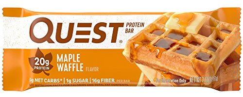 (Quest Nutrition Maple Waffle Protein Bar, High Protein, Low Carb, Gluten Free, Soy Free, Keto Friendly, 12 Count)