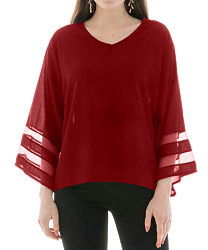 (Chiffon Blouses for Women, V Neck 3/4 Bell Sleeve Mesh Panel Blouses Loose Top Shirts,Wine Red Shirts,US Size 16)