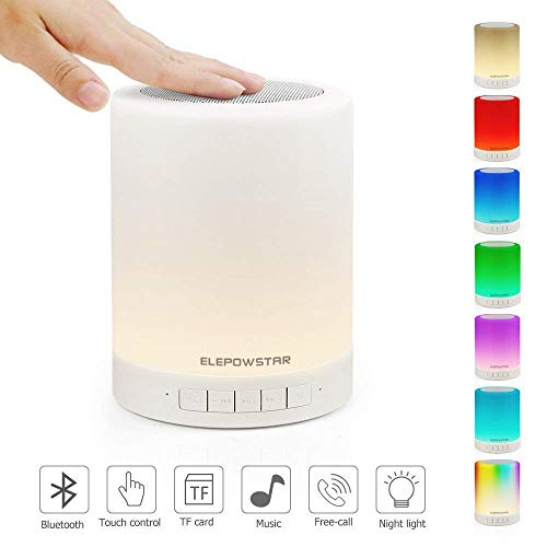 (ELEPOWSTAR Bluetooth Wireless Music Speaker, Smart Touch Bedside Table Lamp, Dimmable Color Changing Night Light, Portable Outdoor Camping Lantern with Multifunctional Speaker Support TF Card, AUX)
