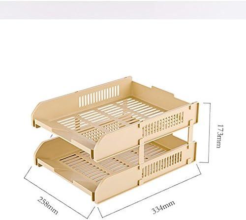 Kanqingqing Briefablage Papierablage Dokumentenablage Organisieren Sie Desktop-Kunststoff-Dateirahmen-Datenständer (Color : Brown)