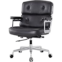 Meelano 310-BLK Office Chair In Aniline Leather, Black