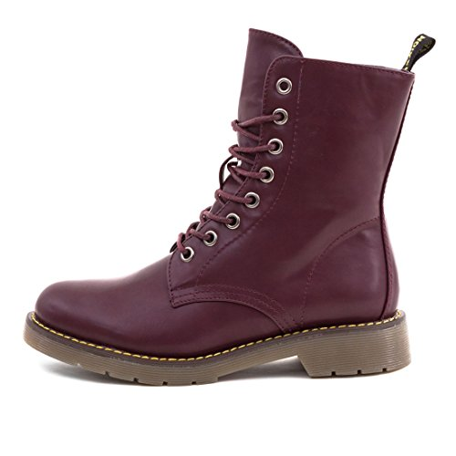 Damen Basic Schnür Stiefel Stiefeletten Worker Boots in Lederoptik Weinrot