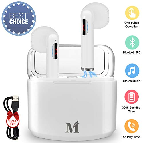 Wireless Earbuds,Bluetooth Earbuds Wireless Earphones Stereo Wireless Earbuds with Microphone Charging Case Bluetooth in Ear Earphones Sports Earpieces Compatible iOS Samsung Android Phones White