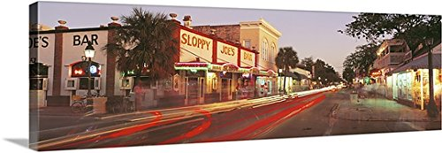 Canvas On Demand Premium Thick-Wrap Canvas Wall Art Print entitled Florida, Key West, Duval Street, Sloppy Joe's Bar illuminated at night - Street Duval Stores