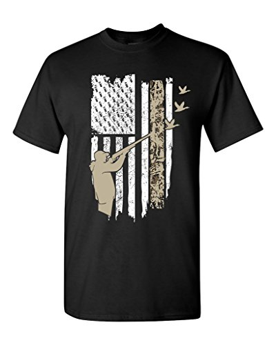 Hunting Flag Gun Rifle Hunt Duck American Flag USA Adult DT T-Shirt Tee (Large, Black)