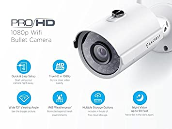 Amcrest IP2M-842W ProHD Outdoor 1080P Wi-Fi Wireless IP Security Bullet Camera, IP66 Weatherproof, White Renewed