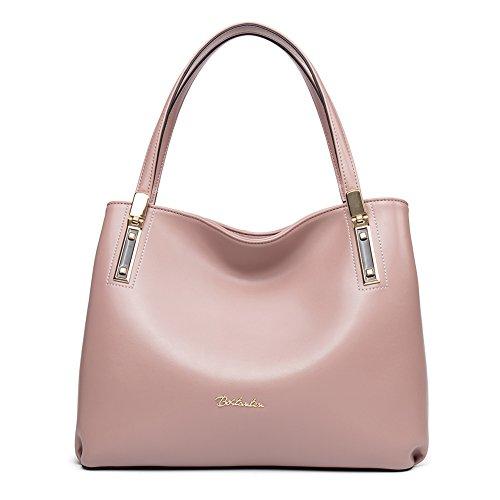 Designers Handbags (BOSTANTEN Womens Leather Handbags Designer Purses Tote Shoulder Bags Pink)