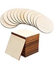 Unfinished Wood Pieces, Wood Burning Wood 24 Square and 12 Round Blank Wood Natural Slices 4 Inch, Wooden Cutouts for DIY Craft Supplies, Pyrography, Painting, Coasters