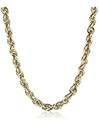 Men's 14k Yellow Gold Hollow Diamond-Cut Rope Chain Necklace (4.0mm)