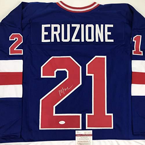 Autographed/Signed Mike Eruzione Blue Team USA Miracle On Ice 1980 Hockey Jersey JSA COA