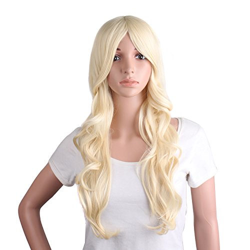 MapofBeauty 24 Inch/60cm Charming Synthetic Fiber Long Wavy Hair Wig Women's Party Full Wig (Light Blonde) ()
