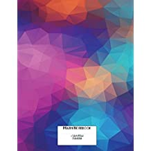 """Math Notebook Cornell Notes & 4x4 Graph Paper 8.5""""x11"""" 150 Pages: Polygon Blues Cover Design"""