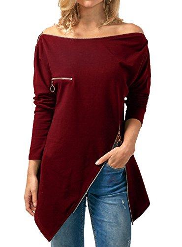 Zippe Femme T Fashion Shirts Vin Rouge Shirt Chemisiers Pulls Automne Tunique et Freestyle Col Slim Manches Jumper Blouse Longues Bateau Haut Printemps Tops Chic Irregulier wqIZwUX