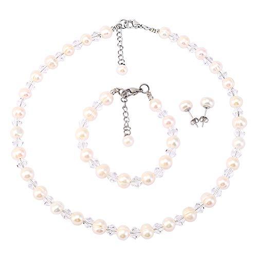 LEILE White Crystal Glass Pearls Necklace Bracelet Earring Diamond Pendant Jewelry 3 Set Wholesale for Little Girl Kids (White 7mm 14.5in 03#)