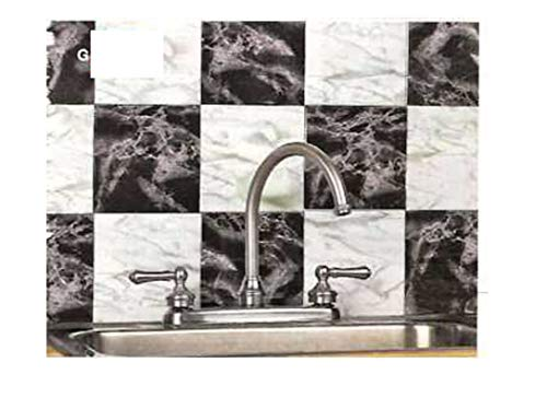 Trenton Gifts Peel & Stick Marble Look Tiles | Black & White | Set of -
