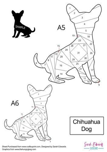 Chihuahua Dog Iris Folding Pattern by Sarah Edwards Craftsuprint