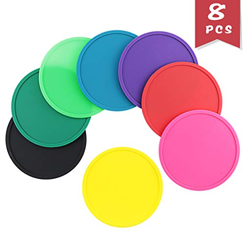 (DLOnline 8 Pack Colorful Round Silicone Coasters,Leak Prevention Coaster,Tabletop Protection Cosster)