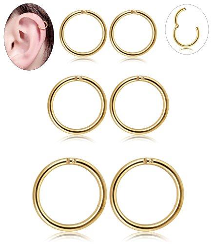 Golden Nose (3 Pair Stainless Steel 16G Sleeper Earrings Septum Clicker Nose Lip Ring Body Piercing Golden Tone)